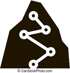 manera, glyph, alpinism, montaña, puntos, dirección, icono