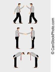 maneras, tres, ilustración, saludo, gestos, vector