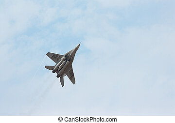 maneuvers, vadászrepülőgép, csinál, ég, felhős, taktikai, ...