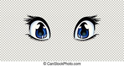 manga, anime blue eyes for creation cartoon kawaii character