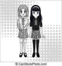 Manga cartoon girl design