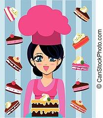 manga chef with cakes