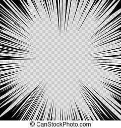 Manga comic book flash explosion radial lines background. -...