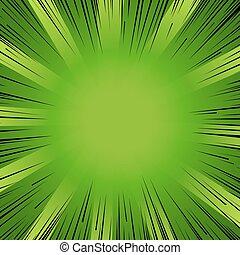 Manga comic book flash explosion radial lines background.