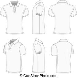 manga corta, shirt., hombres, polo, blanco