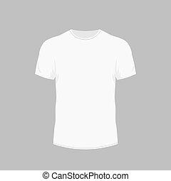 manga curta, vistas, homens, t-shirt, frente, branca