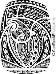 manga, estilo, polynesian, tatuaje, étnico
