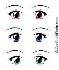 Manga eyes - A set of eyes in manga style, isolated on...