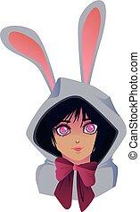 Manga girl dressed up as an easter bunny