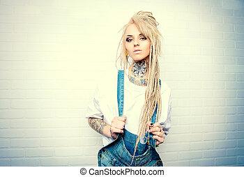 manga girl - Modern teenage girl with blonde dreadlocks...
