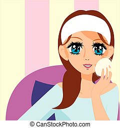 manga girl putting on makeup - Is a EPS 10 Illustrator file...
