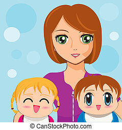 manga girl with babies - Is a EPS Illustrator file