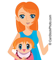 manga girl with baby - Is a EPS Illustrator file