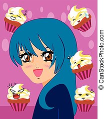 manga girl with kawaii cupcakes