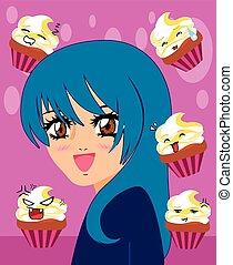 manga girl with kawaii cupcakes