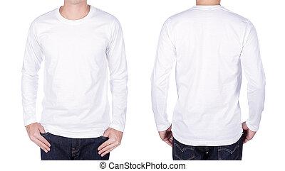 manga, isolado, longo, t-shirt, fundo, branca, homem