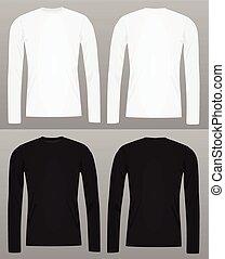 manga longa, camisa t, modelo