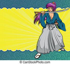 manga samurai - manga style samurai on a colorful...