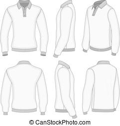 manga, shirt., homens, longo, pólo, branca