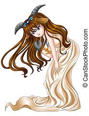 Manga style illustration of zodiac symbol, Capricorn
