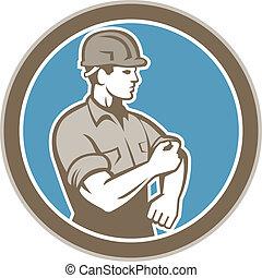 manga, trabalhador, cima, construção, retro, rolando, círculo