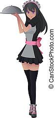 manga waitress - Image of a manga style waitress