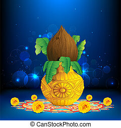 illustration of coconut in mangal kalash on colorful rangoli for hindu festival