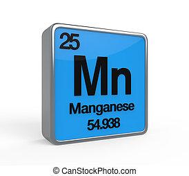 Manganese Element Periodic Table isolated on white...