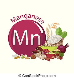 Manganese. Food sources. Natural organic products with a...