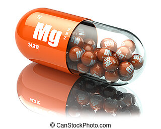 Manganese magnesium Mg element pill. Dietary supplements. Vitamin capsules.