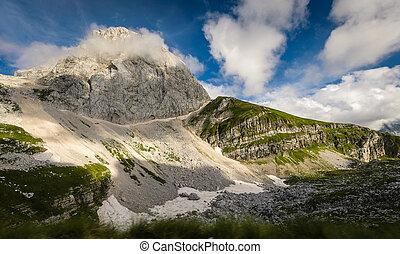 Mangart mountain on a sunny summer day, Slovenia