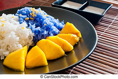 mangas, estilo, glutinoso, sobremesa, tailandês, arroz, comer