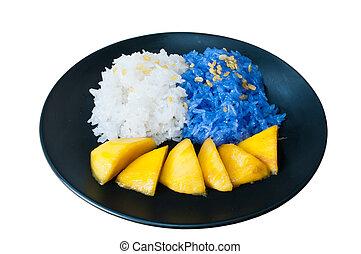 mangas, glutinoso, isole, comer, arroz