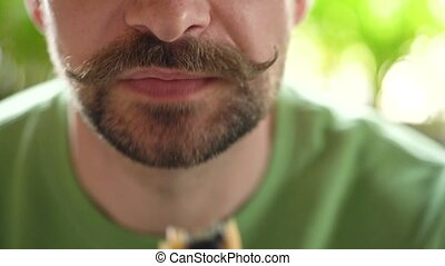 mange, café, haut, homme, moustache, frisé, chocolat, barbu, éclair