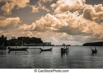 mange, fiske båd, på, den, hav