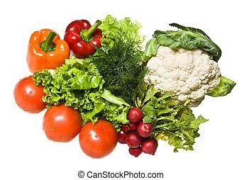 mange, grønsager, isoleret, på hvide