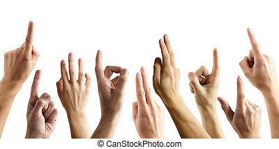 mange hænder, forhøje, oppe