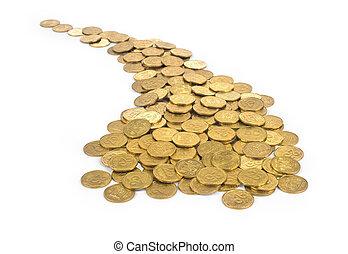 mange, i, guld mønteter, indgåelse, krummet, sti