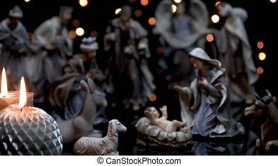 mangeoire, bougies, scène, nativité, lumières, figures, noël