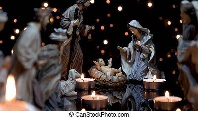 mangeoire, bougies, scène, nativité, lumières, noël
