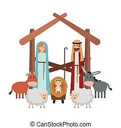 mangeoire, caractères, animaux, famille, saint