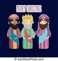 mangeoire, caractères, rois, noël, sage, nativité, trois, joyeux