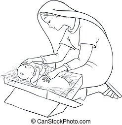 mangeoire, coloration, mère, jésus, enfant, marie, page