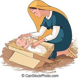 mangeoire, enfant, jésus, marie, mère