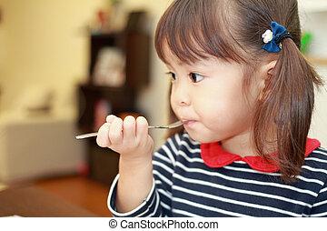 manger, (3, japonaise, années, gâteau, anniversaire, old), girl