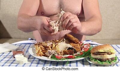 manger, affamé, graisse, personne, dîner, maison