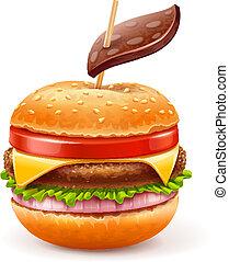 manger, aimer, malsain, hamburger, pomme, concept