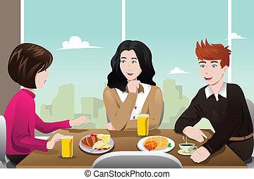 manger, business, ensemble, gens