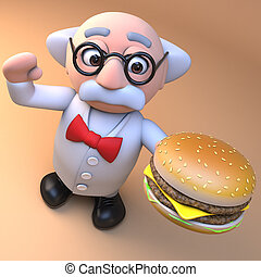 manger, caractère, prof, cheeseburger, hamburger, scientifique, illustration, 3d, dessin animé, fou