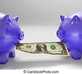 manger, conseil, piggybanks, argent, projection, financier